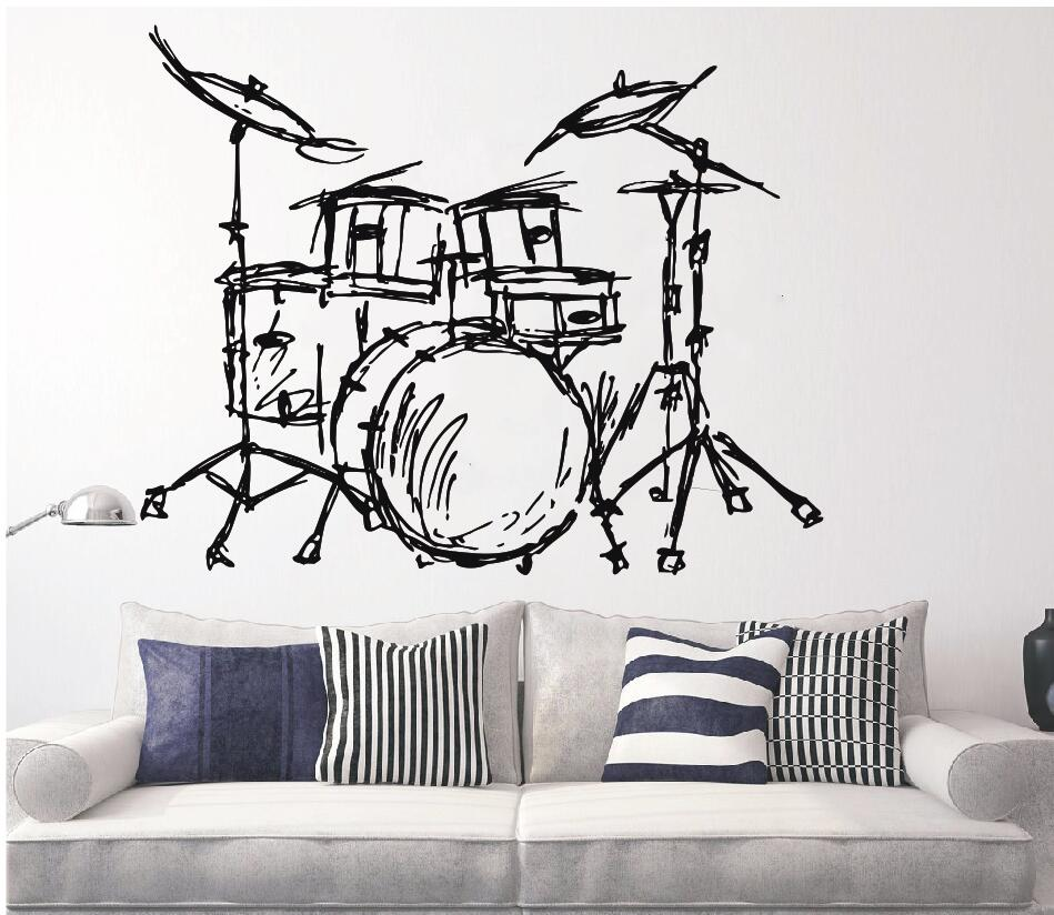 Set Drum Siluet Dinding Mural Rumah Ruang Tamu Mode Dekorasi Alat Musik Drum Set Kit Wall Sticker Kualitas WallpaperQ-88