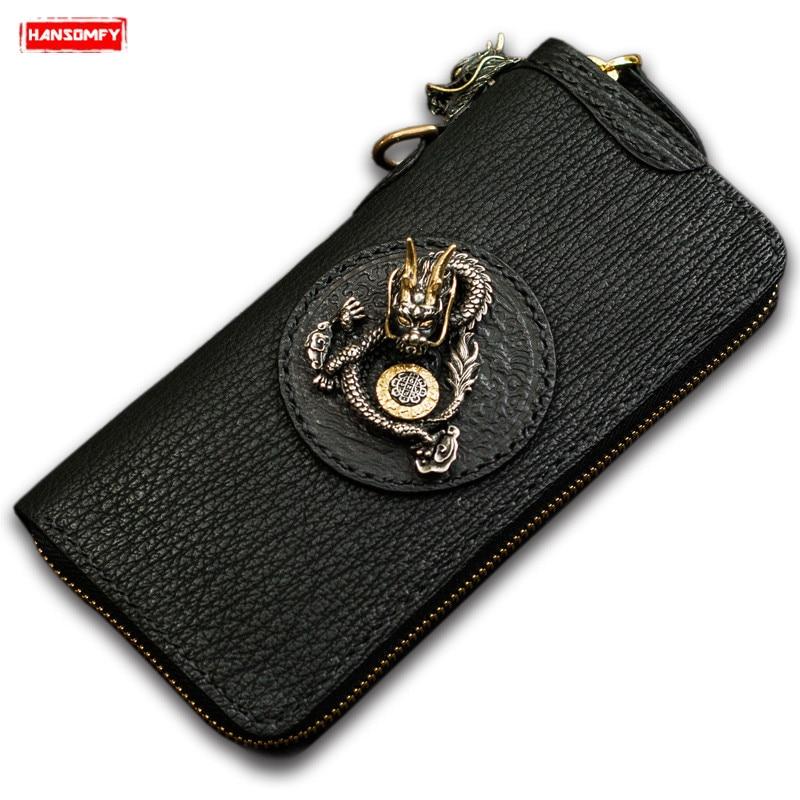 Handmade Men long wallets luxury zipper bag Retro shark leather wallet black clip leather clutch bag male card holder wallets