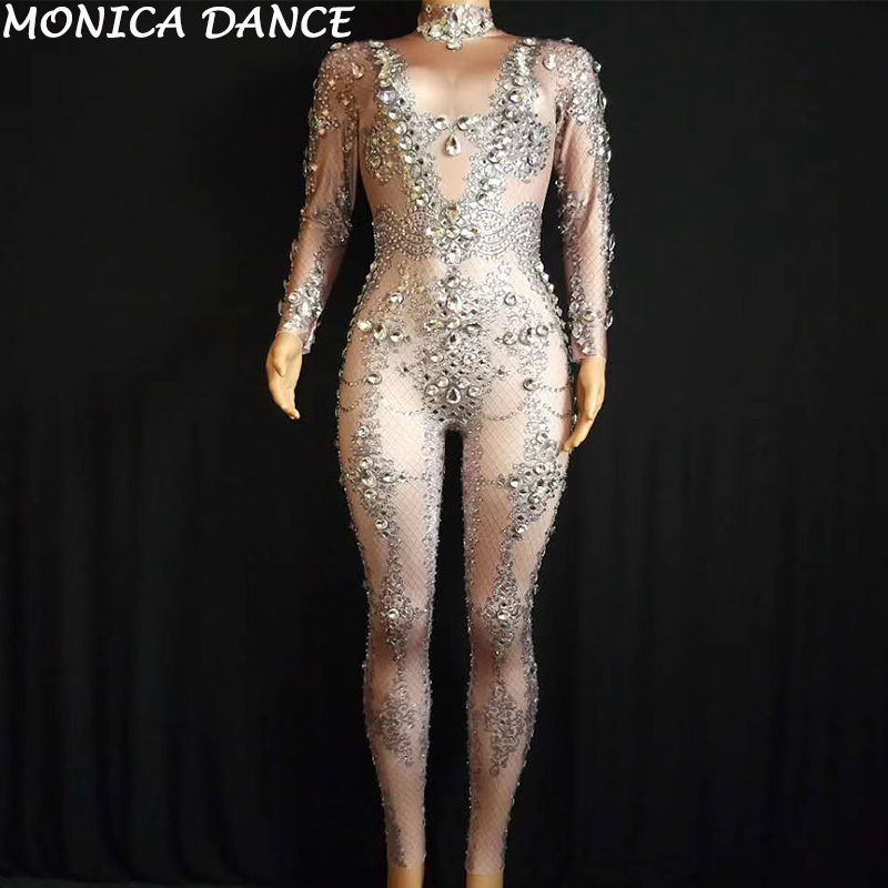 Для женщин пикантные этап Gogo костюмы Стекло сверкающие боди с кристаллами ночной клуб Свадьба День рождения певица танцор Bling комбинезон