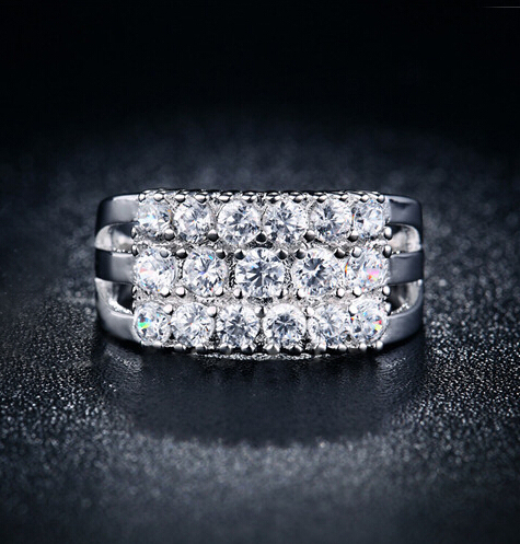 H:HYDE Silver Color Rings For Women The CZ Stone Ring Jewelry Bijoux zirconia Ac