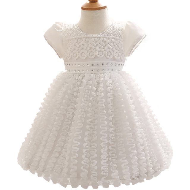 Retail White Baby Girl Formal Party Wedding Dress Summer High Quality Cute Lolita Short Sleeve Ball Gown Baptism Dress with Bow