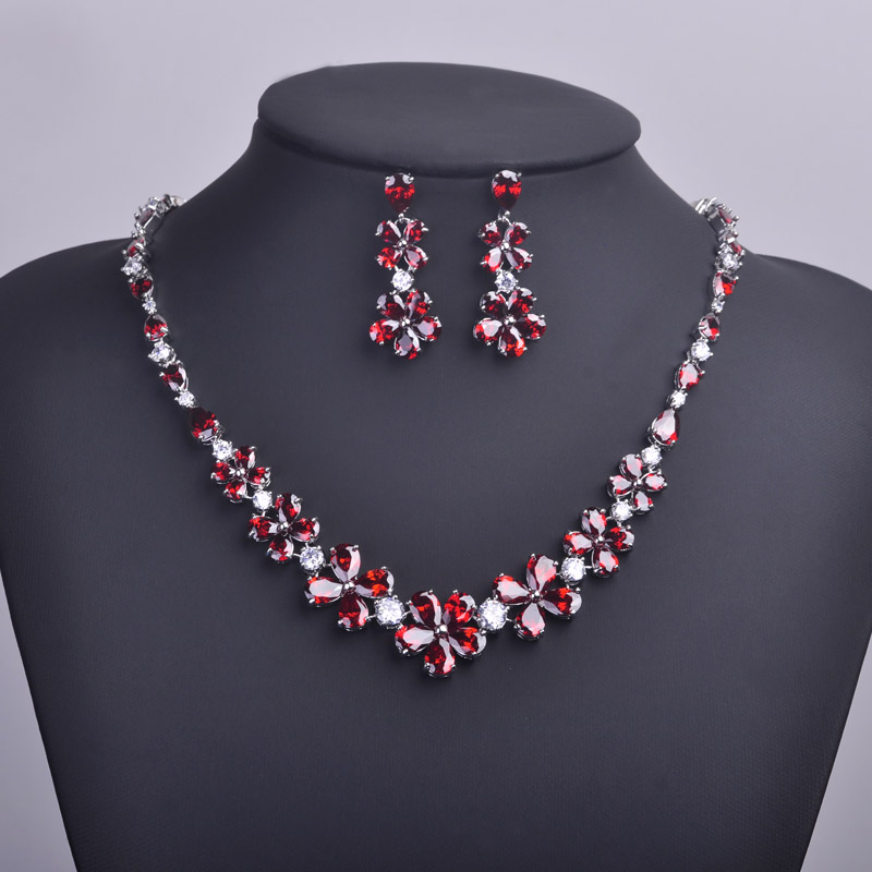 MECHOSEN Red Rhinestones Flower Necklaces&Stud Earrings Jewelry Sets AAA Zirconia Collar Ohrringe Bijuterias Parure Bijoux Femme