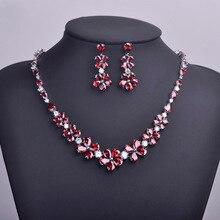 MECHOSEN Red Rhinestones Flower Necklaces&Stud Earrings Jewelry Sets AAA Zirconia Collar Ohrringe Bijuterias Parure Bijoux Femme
