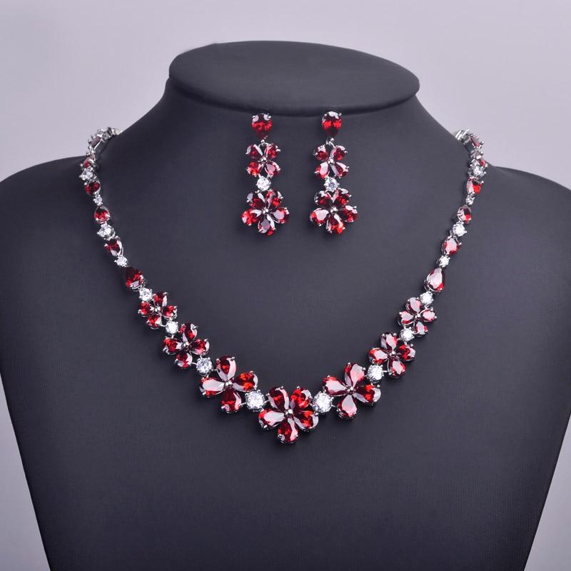 Meselected rouge strass fleur colliers & boucles d'oreilles Bijoux ensembles AAA zircone collier Ohrringe Bijuterias Parure Bijoux Femme