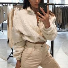 Nadafair Sudadera de manga larga con capucha recortada para mujer, suéter corto de otoño e invierno, sudadera corta de felpa con cremallera, sudadera de piel sintética Fluffly