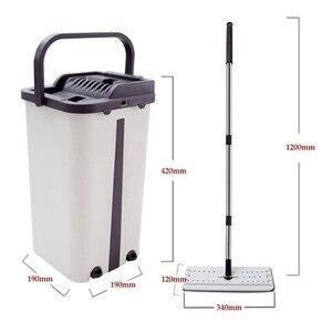 Image 4 - Mop da limpeza do assoalho do mop do aperto liso e mop da mão livre da cubeta do mop de microfibra que torce o mop molhado ou seco do uso