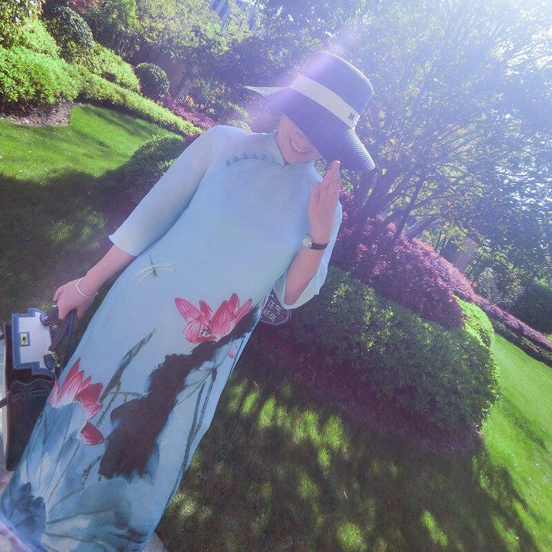 Style Été Montant Chinois Lâche Réel 2019 Color Robe Soie Imprimé Picture Lin Robes Taille 70 Col 30 Nouveau Femmes De Encre Grande XEtqxpwdx