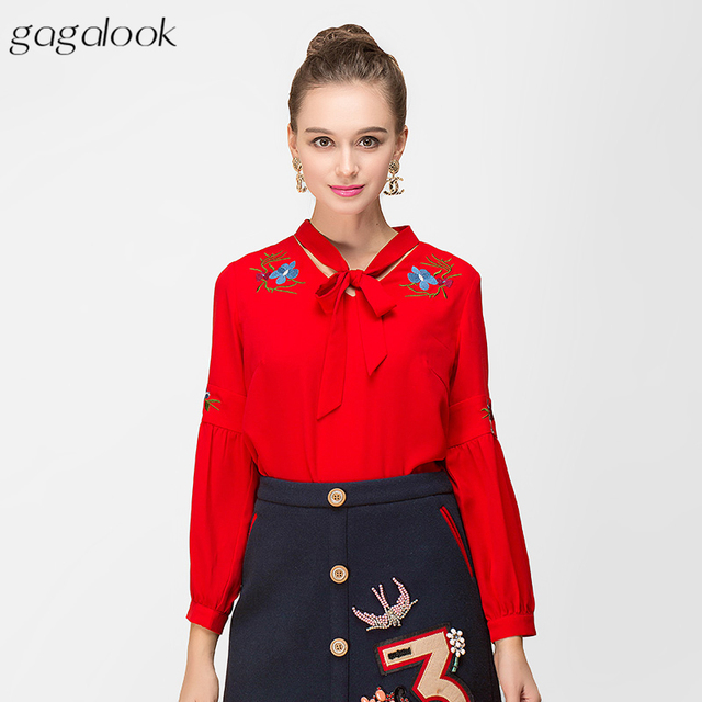 77786fec862f2f gagalook Flowers Embroidery Blouse for Women Office Red Bow Tie Neck Blouse  Shirt 2018 Women Tops Plus Size TA248K