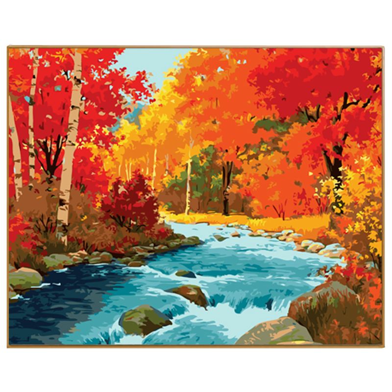 Phkv Abstract Forest River Diy Painting Numbers Hand