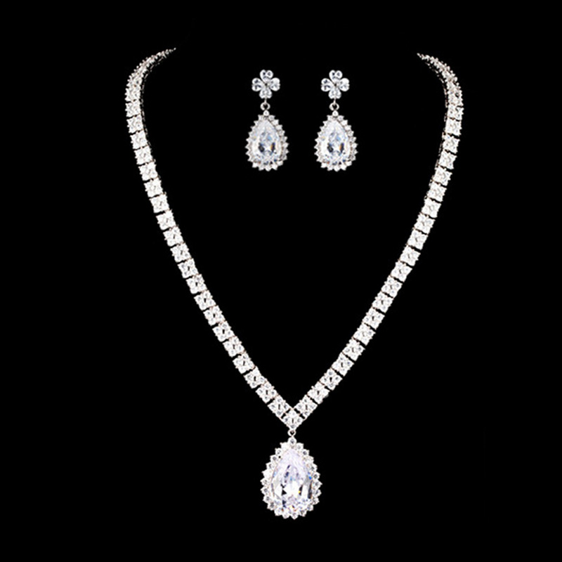 Moonso 925 Sterling Silver Jewelry for women wedding Austrian Crystal Stud Earrings and Necklace african J1049 chic rhinestone african plate shape pendant necklace and earrings for women
