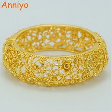 Anniyo 5.8CM / Gold Flower Bracelet for Women's, Gold Color NEW Flower Bangle With Spring Jewelry Gifts #041206