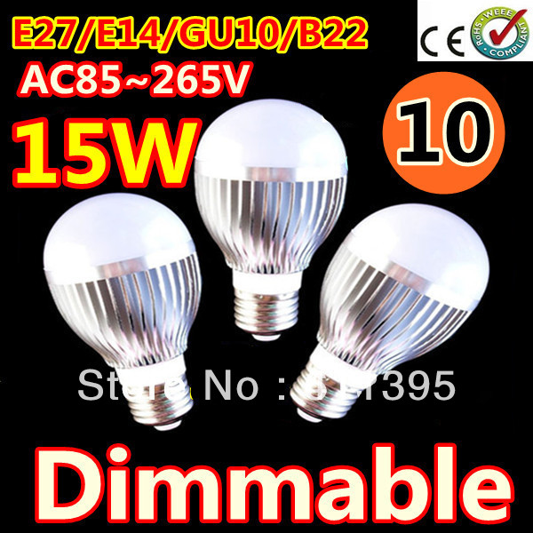 Free shipping 10pcs/lot Retail Dimmable Bubble Ball Bulb AC85-265V 9W/12W/15W E14 E27 B22 GU10 High power Globe light LED Light