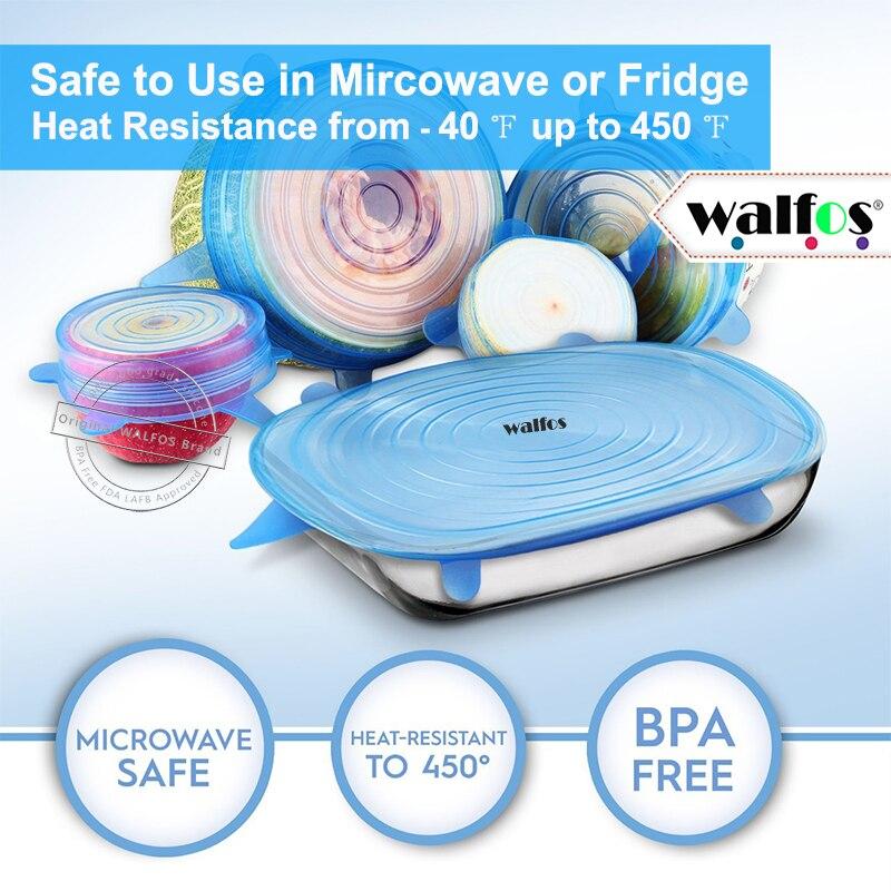 WALFOS nové 6 kusů Multifunkční potraviny Čerstvé udržovací obaly Kuchyňské nářadí Znovu použitelné silikonové potravinářské obaly Seal Cover Stretch