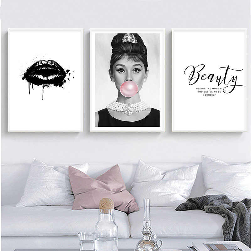 Home Decor Canvas Painting Nordic Audrey Hepburn Bubble Black White Picture Fashion Modern Print Poster For Living Room Wall Art