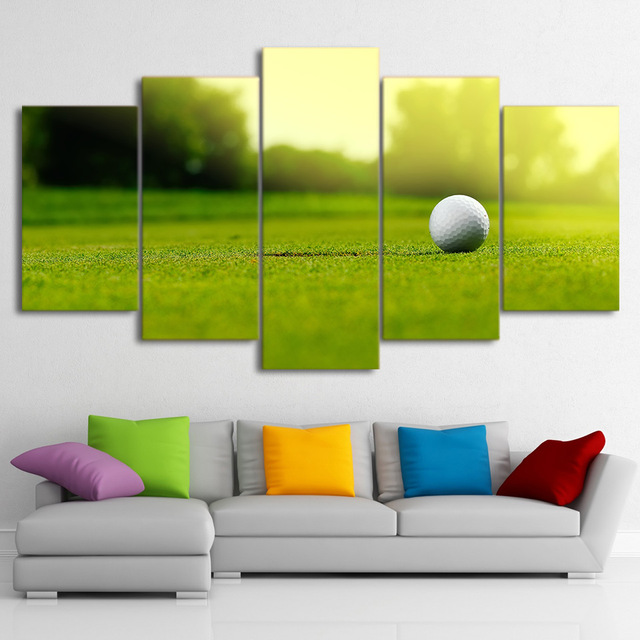 Canvas Wall Art Pictures Framed 5 Panel Golf Course Kitchen Restaurant  Decor Living Room HD Printed