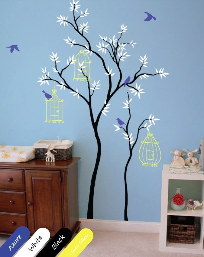 Nursery tree wall decal with birdcages and
