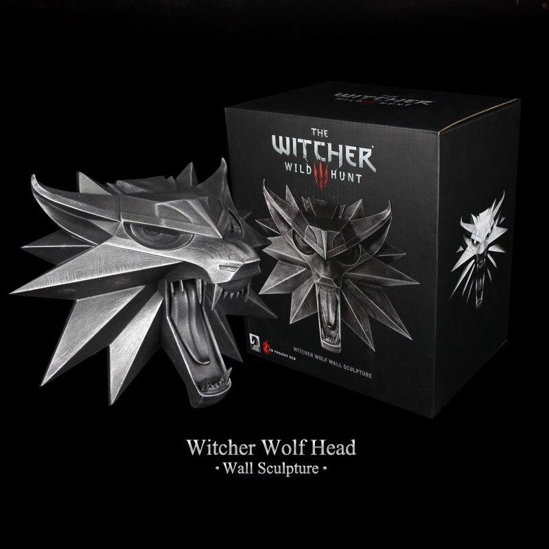 Jeu The Witcher 3 chasse sauvage tête de loup Sculpture murale résine Statue Collection Figure jouets
