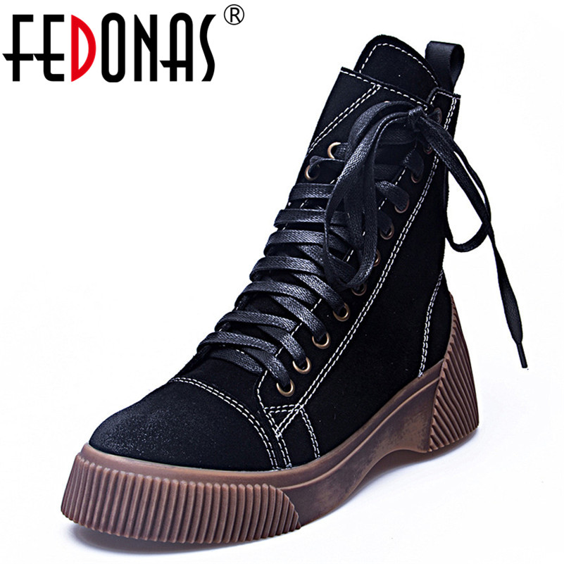 FEDONAS Top Quality Women Autumn Winter Ankle Boots Wedges Heels Lace Up Short Martin Shoes Woman Cow Suede Motorcycle Boots xgvokh ankle boots women winter warm cow suede leather high quality shoes woman fashion lace up boot short boots height
