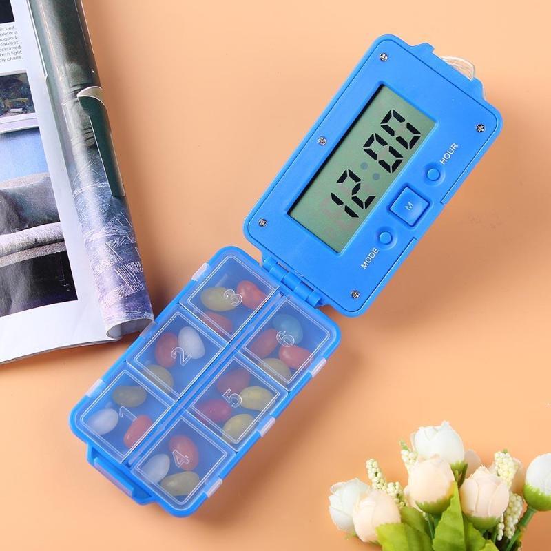 6 Grid Intelligent Electronic Pill Case Timing Daily Reminder Alarm Pill Storage Box Portable Folding Pill Splitter Organizer