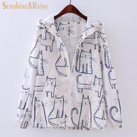 2017 Spring Autumn Jacket Women Solid Cartoon Cat Pot Long Sleeve Hooded Cartoon Printed Women Patchwork