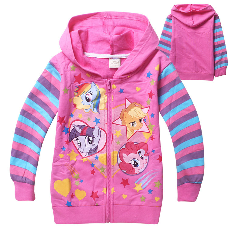 spring winter my pony Kids little slim Girls sweaters striped coats baby  jackets Children printed hoodies