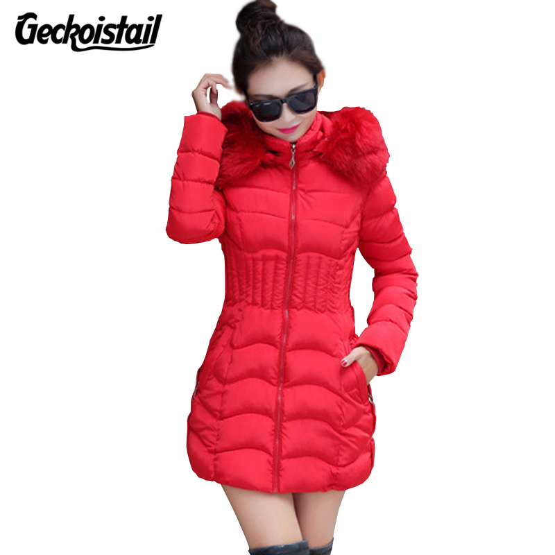 Geckoistail Winter Jacket Women Fur Collar Thick Warm Parka Outwear Casacos De Inverno Feminino Female Quilted Coat Plus Size