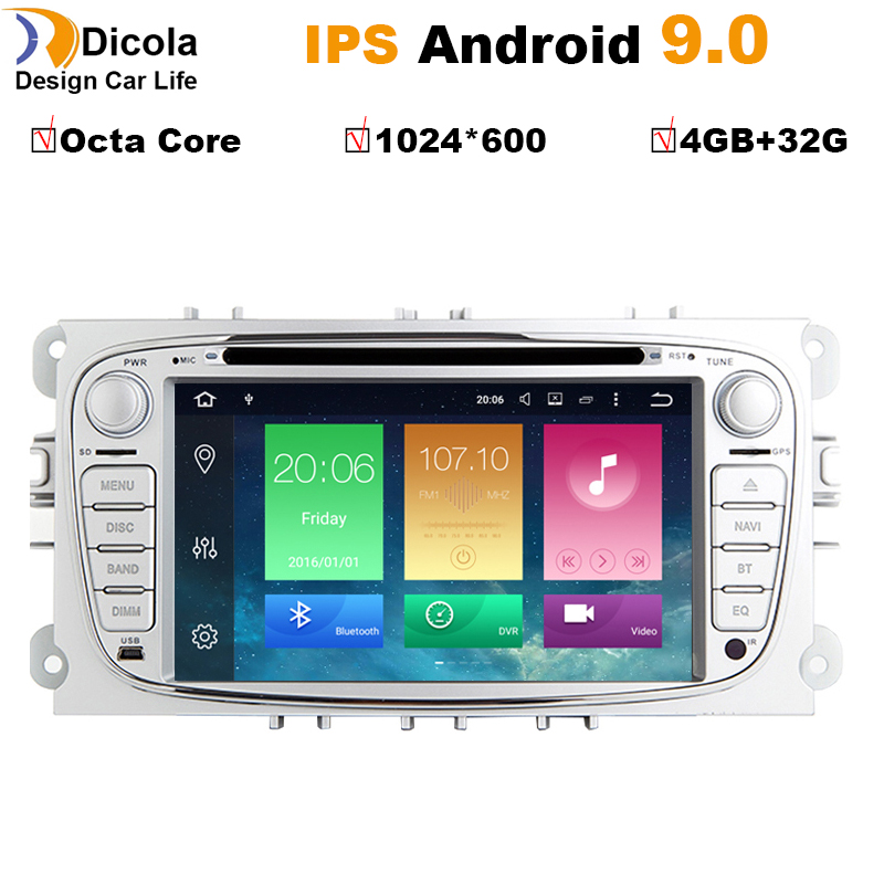 4 + 32G PX5 Android 9 Octa Core reproductor de DVD del coche GPS Navi para  Ford Focus Mondeo Galaxy
