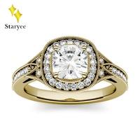 Роскошные 1.1CT Charles & Colvard Moissanite лабораторный алмаз обручальное кольцо для женщин чистое 18 K 750 желтое золото настоящее