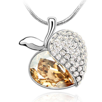With Genuine Brand Crystal Pendant Long Necklace MADE WITH SVAROVSKI ELEMENTS Apple Pendant 2015 New Arrival