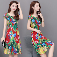 women Summer new plus size S-6XL cotton silk dress Floral summer womens printed short-sleeved dresses