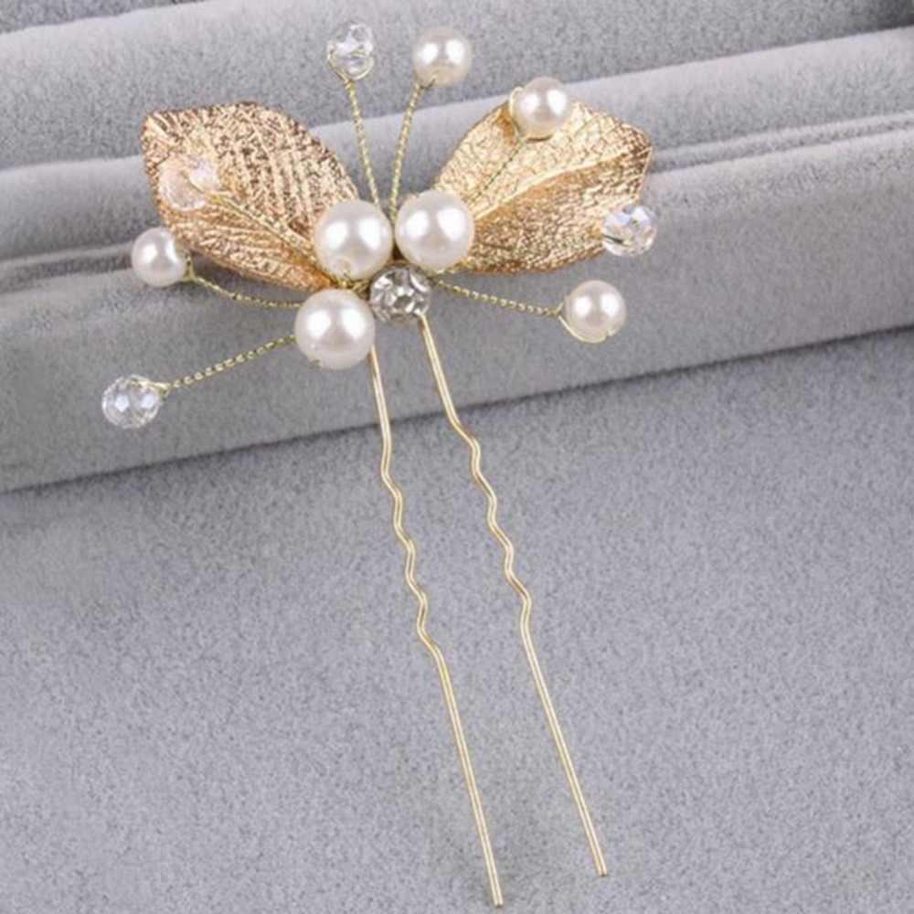 2019 nouvelle vente directe plante diadèmes élégant mariée simulée perle feuille d'or à la main de mariage cheveux accessoires femmes bijoux
