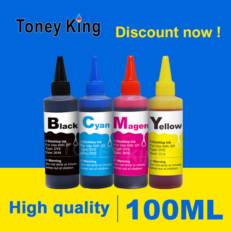 Toney King 100ml Dye <font><b>Refill</b></font> Ink <font><b>Kit</b></font> For <font><b>HP</b></font> 21 22 140 141 301 302 300 650 <font><b>652</b></font> 121 123 122 901 350 351 XL Printer Ink Cartridge image