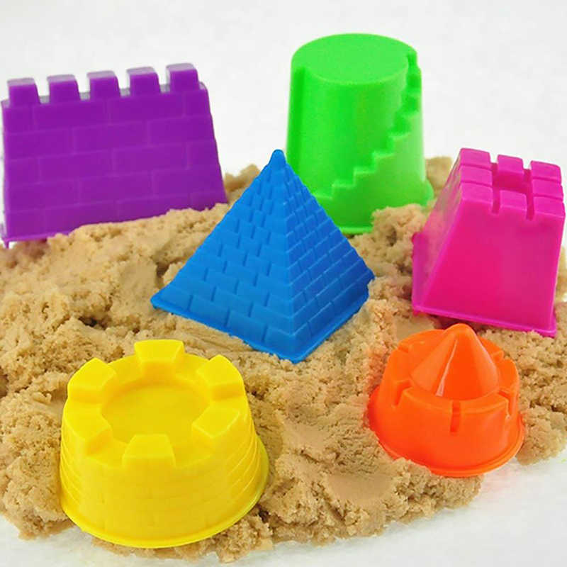 6Pcs/Set Mini Portable Castle Sand Clay Mold Toys Children Pyramid Sandcastle Kids Classic Model Building Kits Outdoor Game Gift