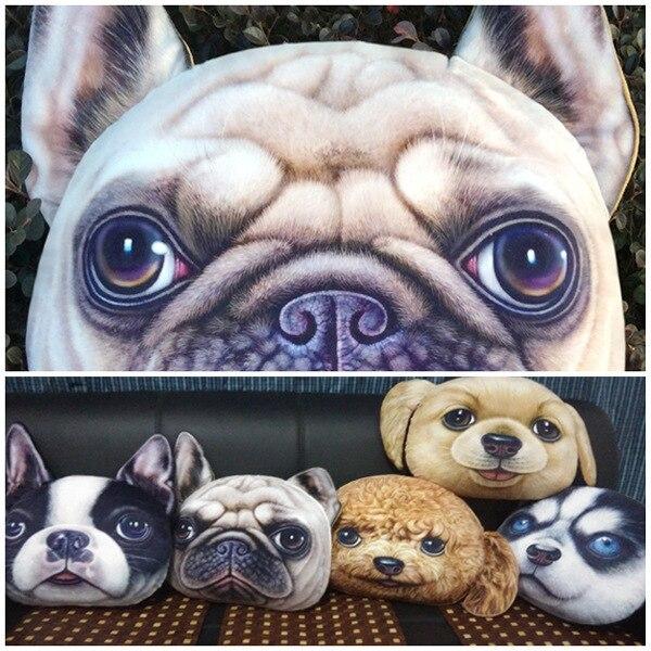 Large 3d Dog Pillow Cushion Pug Poodle Husky Sharpei Bulldog Puppy
