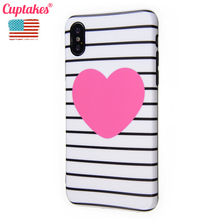 цена на Luxury IMD Soft Silicone Case for iPhone 7 6 6S 8 Plus X 10 XS Max XR Cover Cute Hot Pink Heart Coque White stripes Pattern Capa