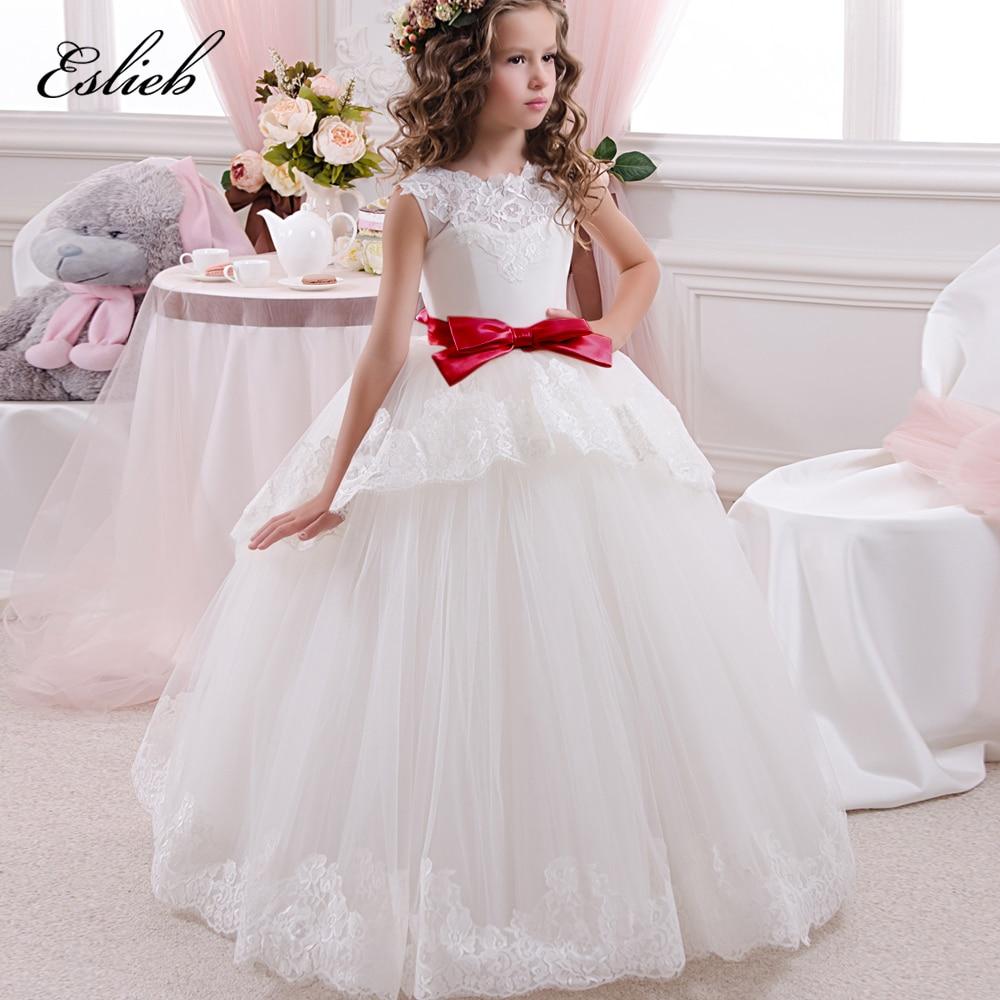 Lace   Flower     Girl     Dresses   Sleeveless Ruffles Bow Vestido Menina Lace Appliques Toddler Potinho Little Infant   Dress   0-12 Year 2017
