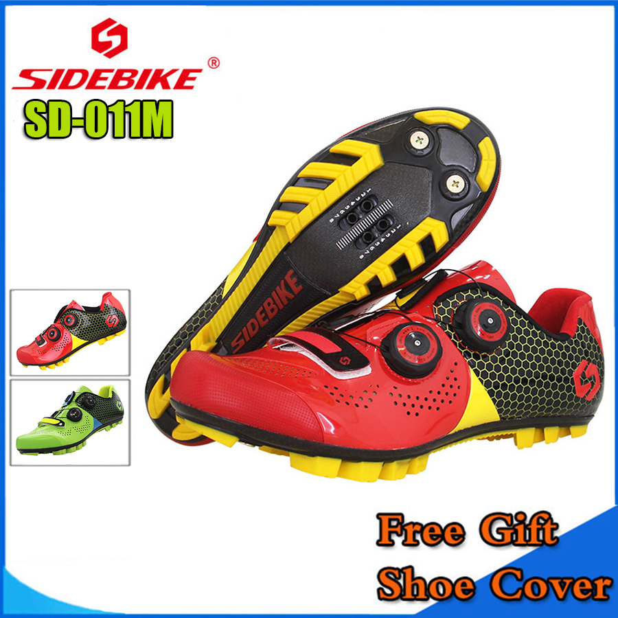 SIDEBIKE Mountain MTB Cycling Shoes Bike Ultra light carbon fiber Sole Self-Locking Bicycle Sport Shoes Zapatillas Ciclismo RED new asiacom full carbon fiber cycling bicycle crank mtb road bike crankset length 170mm ultra light mountain bicycle parts