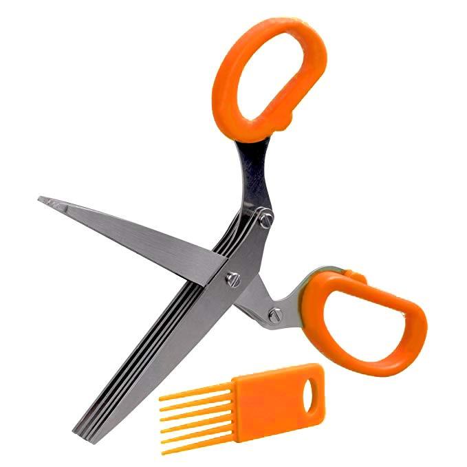 19 см фарш 5 слоев Basil Rosemary кухонные ножницы измельченный нарезанный скальон резак травы Laver специи повара инструмент резки - Цвет: Orange
