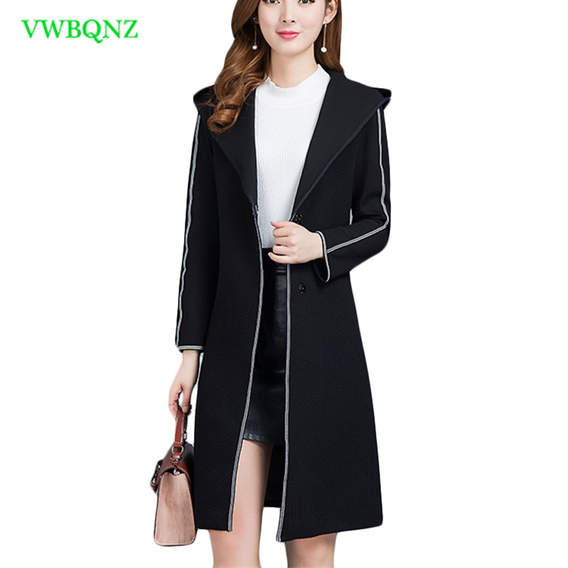 Plus size Women Windbreaker Coat Spring Fashion Slim Long Wild Hooded Overcoat Women's High quality Long sleeve   Trench   Coats 166