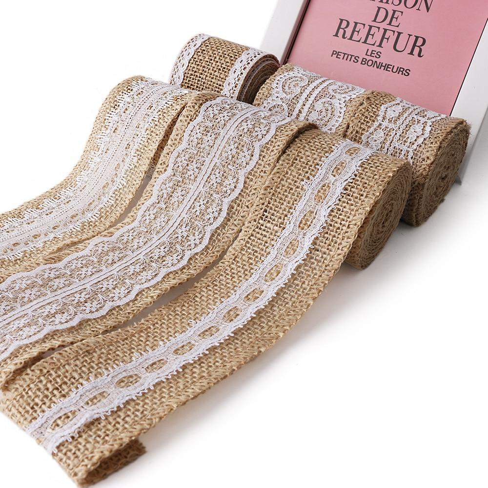 2m Natura Jute Burlap Hessian Ribbon With Lace Trims Tape