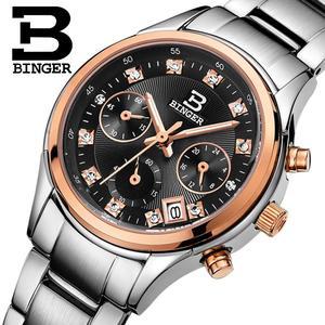 Image 1 - Switzerland Binger womens watches luxury quartz waterproof clock full stainless steel Chronograph Wristwatches BG6019 W3