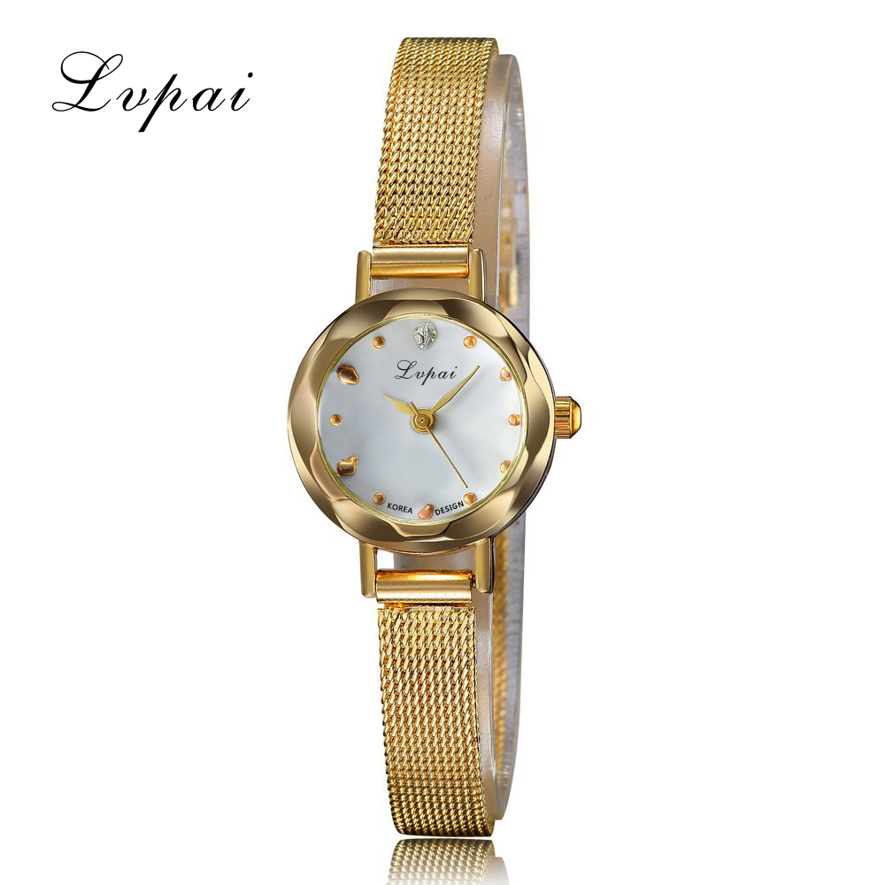 Lvpai Brand New Fashion Gold Silver Grid Strap Women Dress Watches For Female Gold Ladies Watch Casual Girl Clock Watch XR928 lady fashion gold small dial watches for dress women famous brand golden female metal watch bracelets ladies xfcs 2017