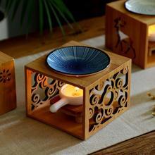 대나무 나무 중공 향기 램프 오일 용광로 아로마 버너 캔들 홀더 촛대 꽃병 로맨틱 공예품 선물 홈 인테리어