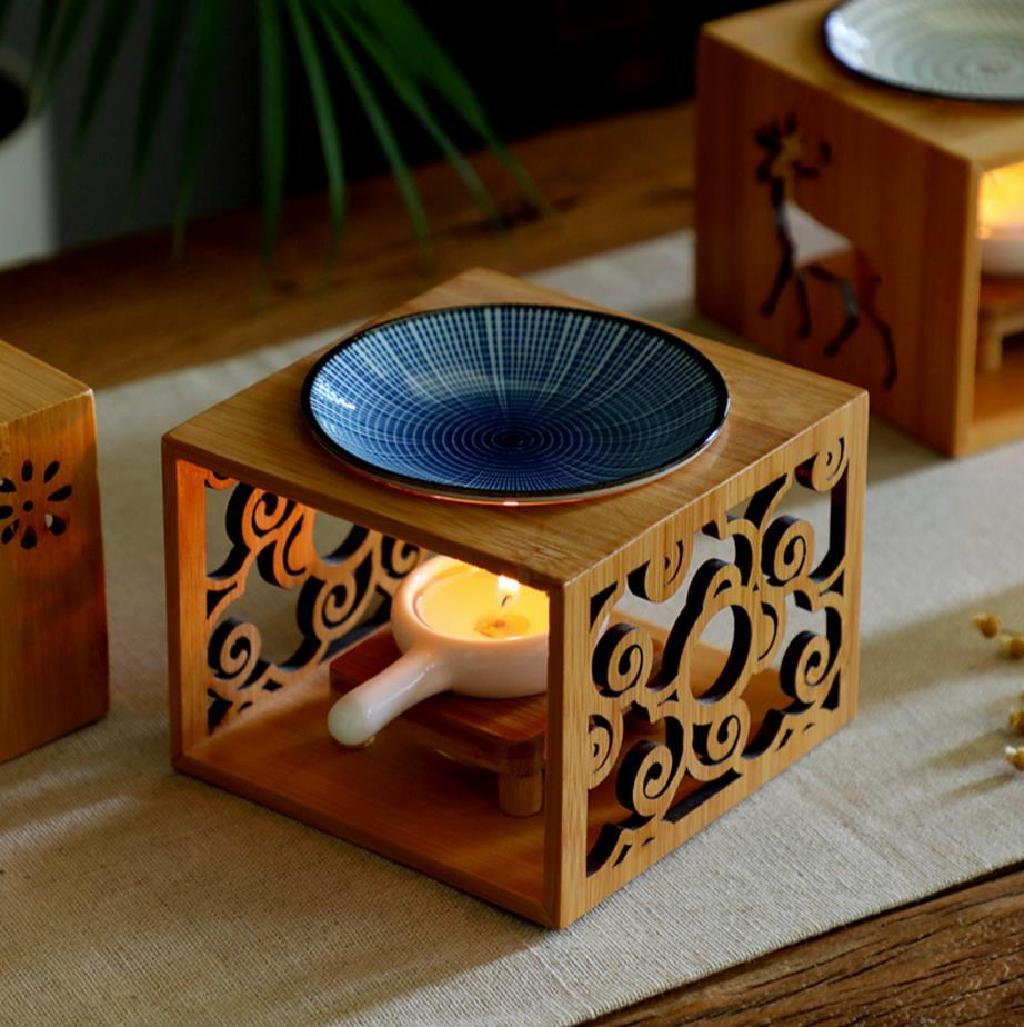Bamboo Wood Hollow Fragrance Lamp Oil Furnace Aroma Burner Candle Holder Candlestick Vase Romantic Crafts Gifts Home DecorationIncense & Incense Burners   -