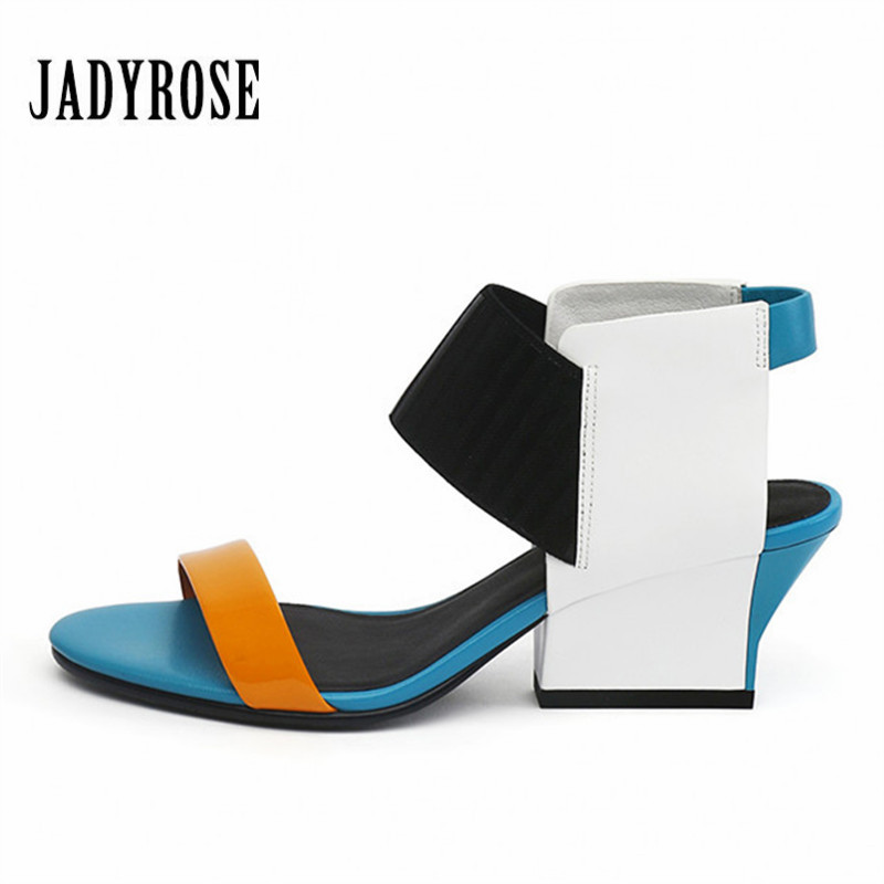 Jady Rose Fashion Women Summer Sandals 2018 Flip Flops Leather Open Toe High Heels Shoes Woman Pumps Gladiator Feminino Slippers jady rose 2018 fashion women shoes genuine leather gladiator summer sandals high heels sexy wedding shoes woman open toe pumps
