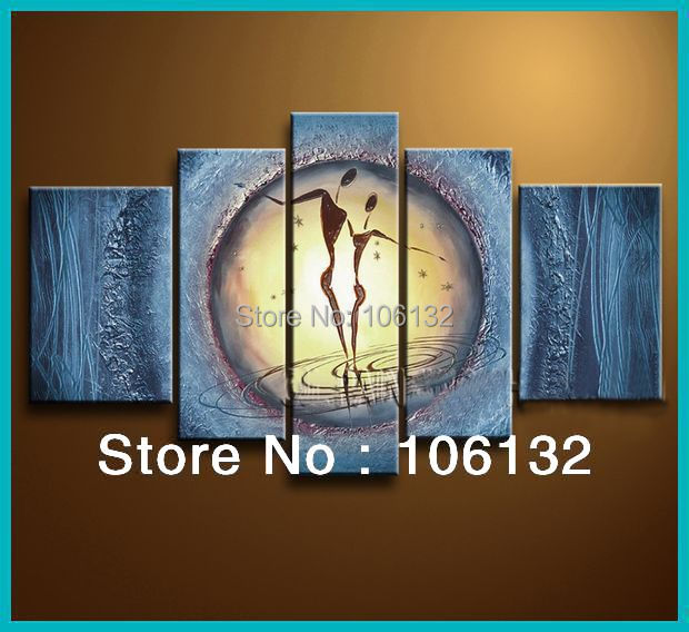 Framed 5 Panel Huge High End Amazing Blue Wall Art Textured Acrylic ...