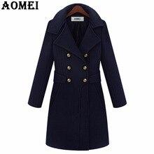 Женское модное длинное шерстяное пальто, одежда для работы, Офисная Женская одежда, осень-зима, дизайн с двумя пуговицами, темно-синий, новинка