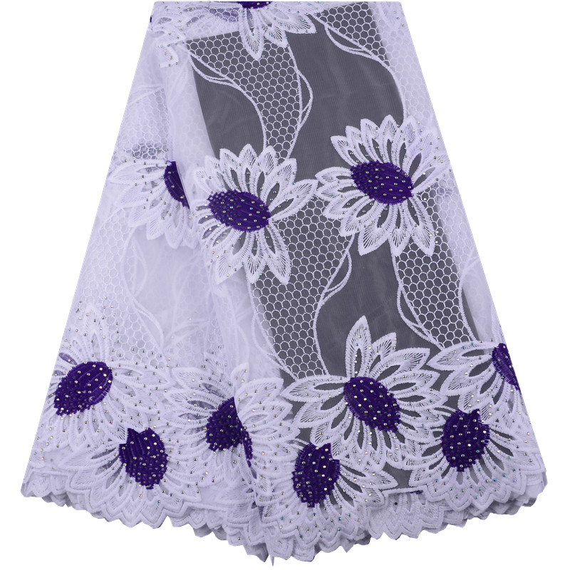 Nigerian Mesh White Milk Silk Lace Fabric 2019 Purple African Tulle Lace High Quality French Net