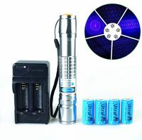 High Power Blue Laser Pointers 500000m 450nm LAZER flashlight Burning Match/Paper/Dry Wood/candle/black/cigarettes+charger+box