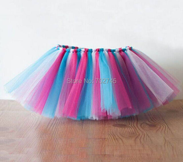 2015 Summer New Girl TUTU Skirts Colorfurl Rainbow Gauze Princess Skirt 1-10Y 2253 Only Include Skirt